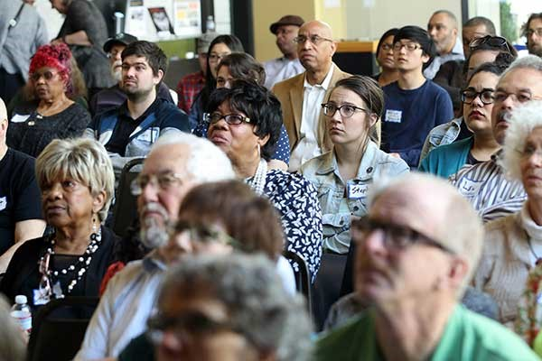 Multi-generational crowd views 'The Wake of Vanport' at the April 2016 screening