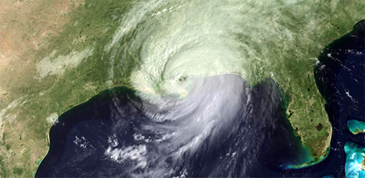 Hurricane Katrina over US Map