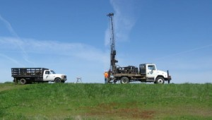 Large machinery used for drilling into the levees to take samples to test their structural integrity