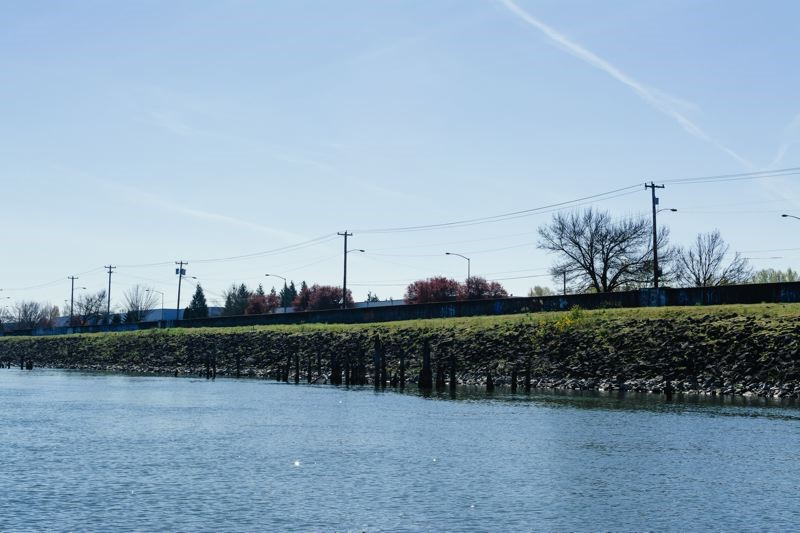 Levee and Flood Wall along the Columbia River in North Portland
