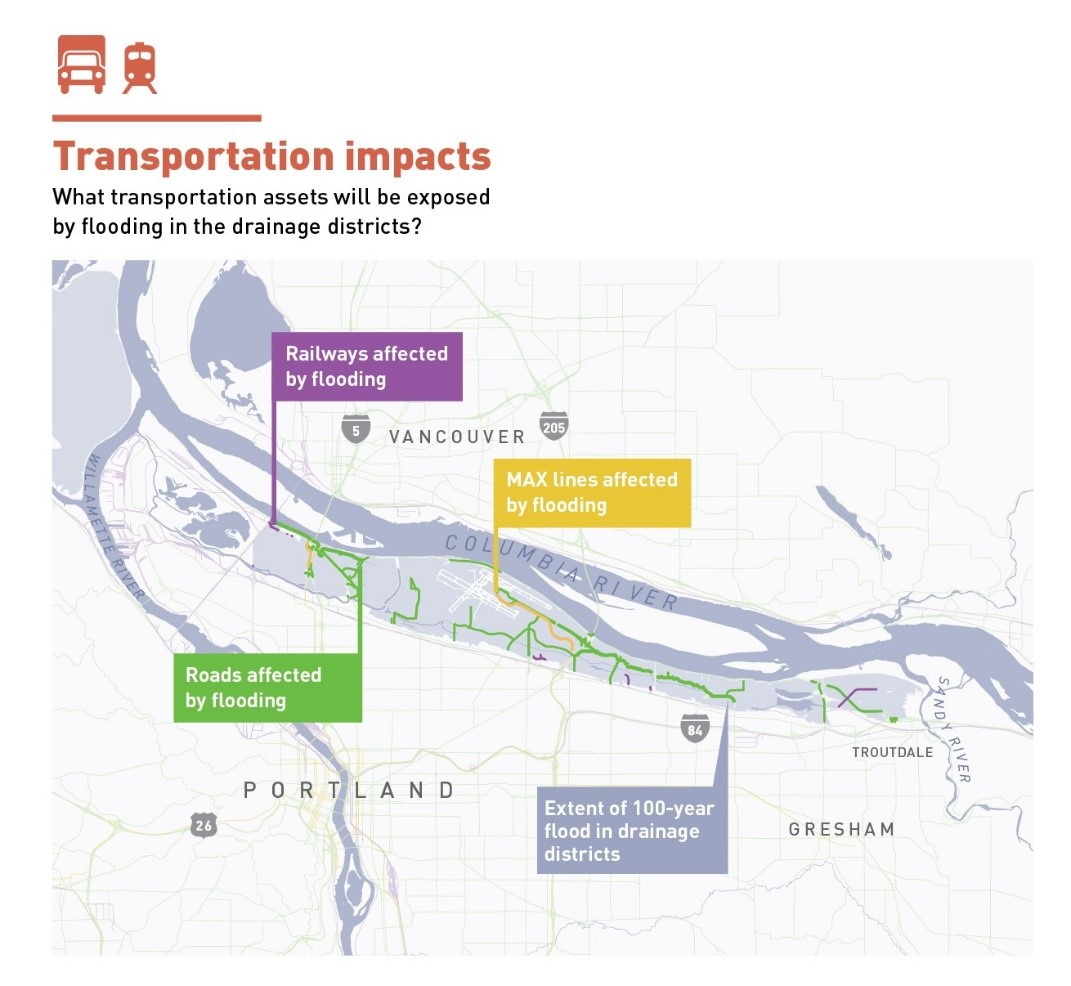 a map of areas where transportation will be affected by flooding