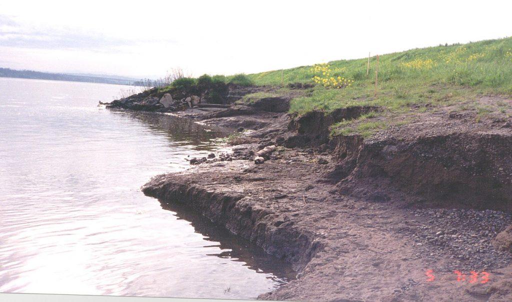 Photo of Marine Drive levee damage during 1996 flood