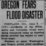 "Madera Tribune Article from 1933 Flood ""Oregon Fears Flood Disaster"""