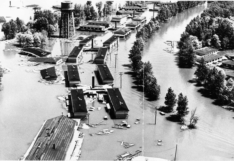 Aerial photo of Vanport flood