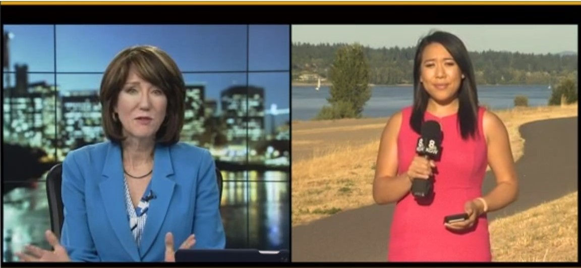 Screenshot of Reporters during KGW News Coverage on Flooding Potential in Portland Area