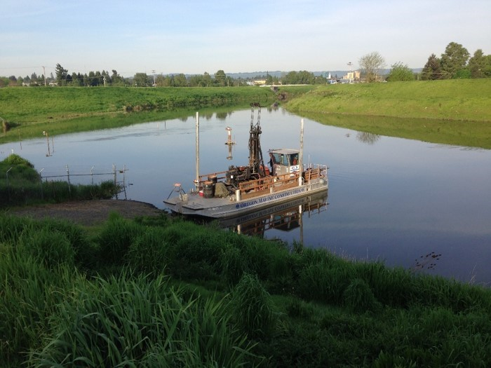 photo of the barge used to complete portions of levee evaluation