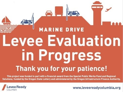 Signage displayed on Marine Drive during levee investigation