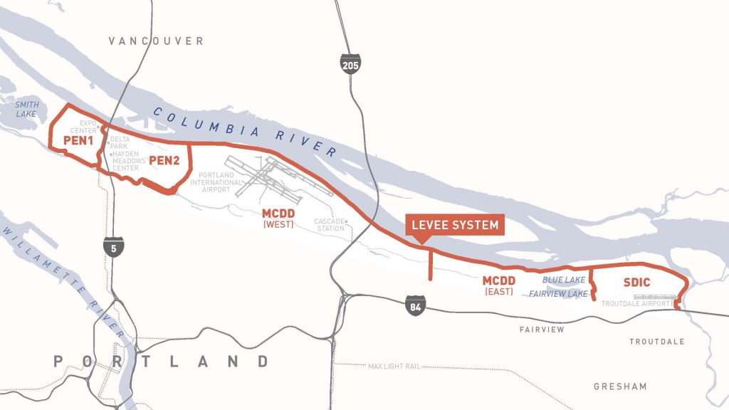 a map of the boundaries for Pen 1, Pen 2, MCDD, & SDIC drainage districts along the Columbia Corridor