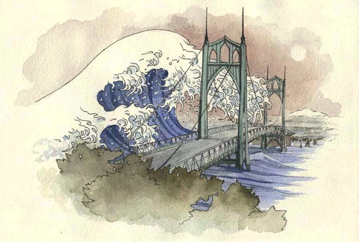 Drawing of a wave coming over the St Johns Bridge used by the Willamette Week for story about flooding