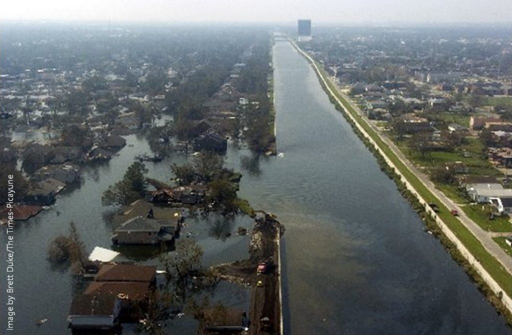 photo of the 17th Street Canal Levee Breach in New Orleans