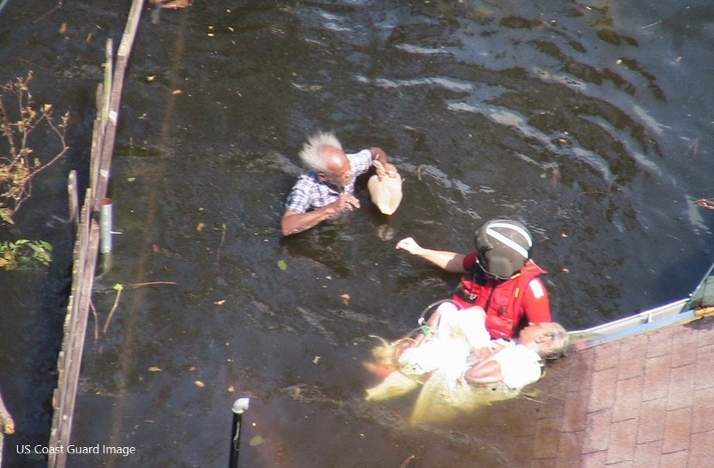 Photo of a roooftop rescue by US Coast Guard in New Orleans