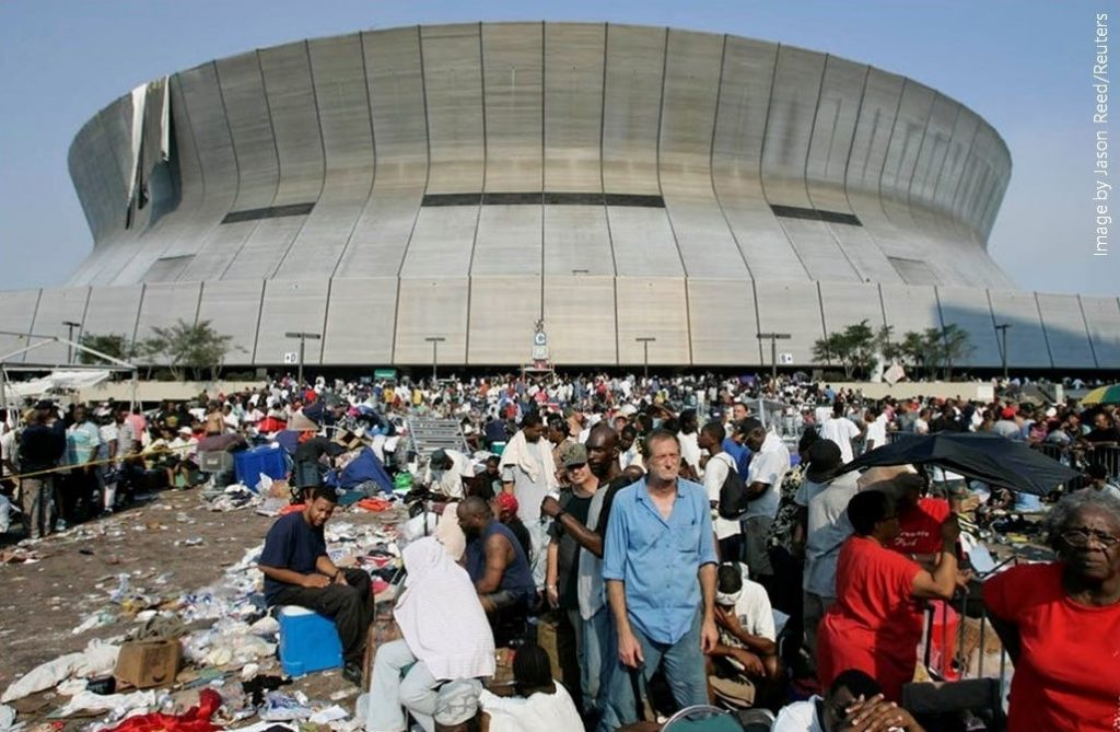 Photo of people camped outside the Superdome in New Orleans after Katrina