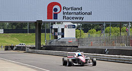 Photo of a car racing at Portland International Raceway