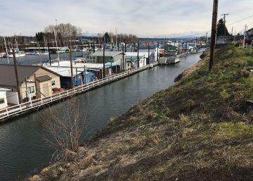 Photo of Columbia River House Boat community taken from levee in the Bridgeton Neighborhood