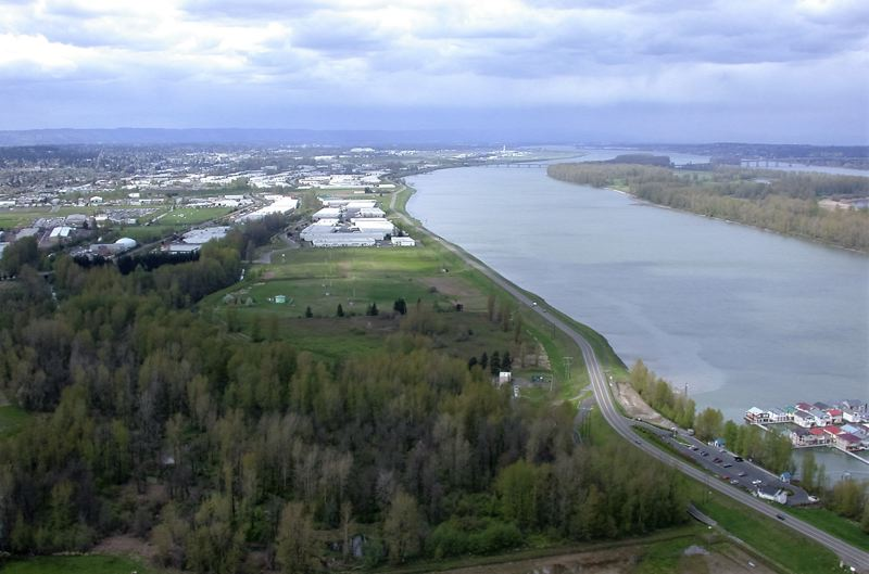 Aerial photo of the Columbia Corridor and Marine Drive in which is located on top of a levee that reduces the risk of flooding from the Columbia River