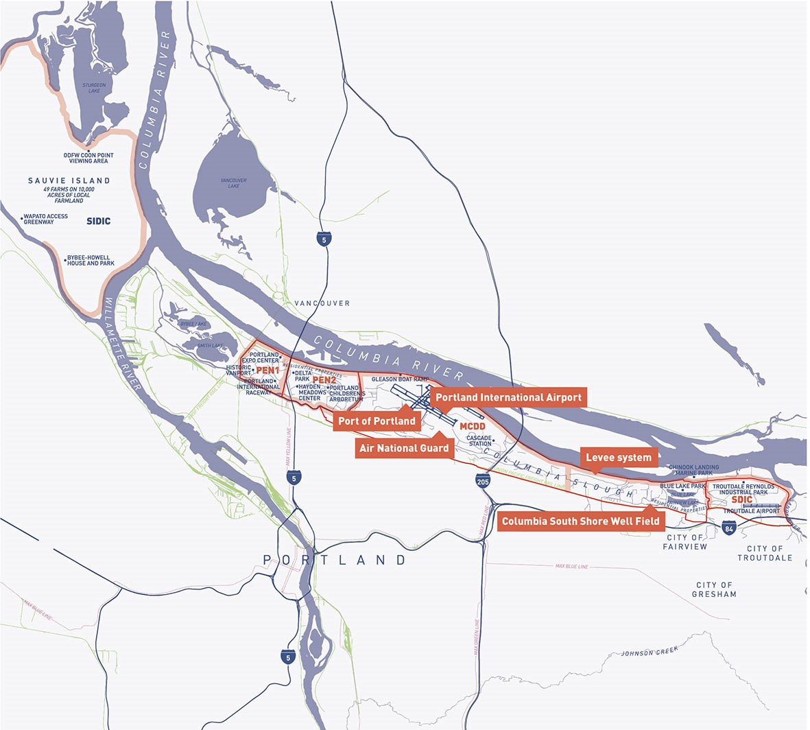 Map of levees in Multnomah County, including on Sauvie Island