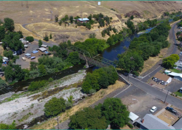 Levees run along the Umatilla River in Pendleton, Oregon